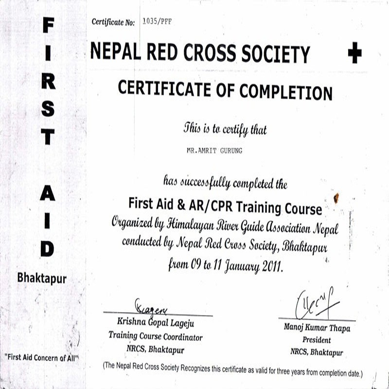 Certificate of Red Cross Society